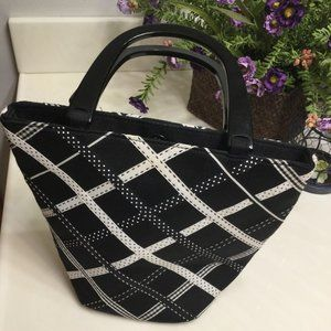 Talbots black and white small tote with ribbon